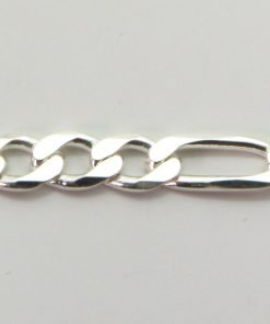 Silver 3+1 Figaro Chains 140 Gauge - 5.3mm wide (Extra Flat)