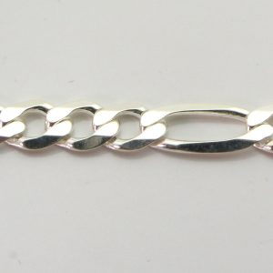 Silver 3+1 Figaro Chains 160 Gauge - 6.5mm wide (Extra Flat)
