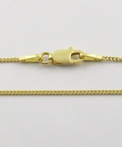 Silver Curb Chains 030 Gauge - 1mm Wide (Yellow Gold Plated)
