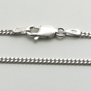Silver Curb Chains 050 Gauge - 1.7mm Wide (Rhodium Plated)