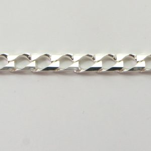 Silver Curb Chains 120 Gauge - 3.4mm Wide (Square)