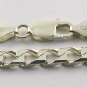 Silver Curb Chains 220 Gauge - 6mm Wide (Square)