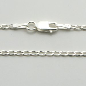 Silver Cheval Chains 045 Gauge - 1.5mm Wide (Open Link Curb)