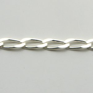 Silver Cheval Chains 100 Gauge - 3.9mm Wide (Open Link Curb)