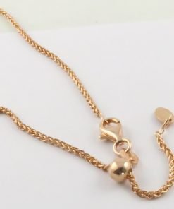 Silver Wheat Chains 035 Gauge - 1.5mm Wide (Slider/Adjuster Rose Gold Plated)