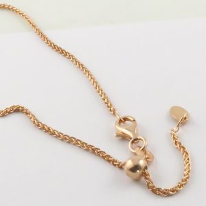 Silver Wheat Chains 035 Gauge - 1.5mm Wide (Slider/Adjuster Rose Gold Plated)