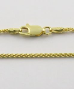 Silver Wheat Cains 035 Gauge - 1.5mm Wide (Yellow Gold Plated)