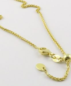 Silver Wheat Chains 035 Gauge - 1.5mm Wide (Slider/Adjuster Yellow Gold Plated)