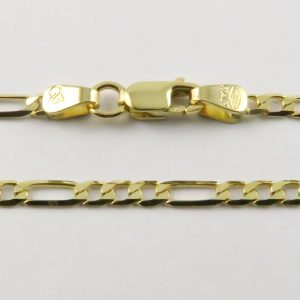 9ct Yellow Gold Figaro Chains 060 Gauge - 2.4mm Wide