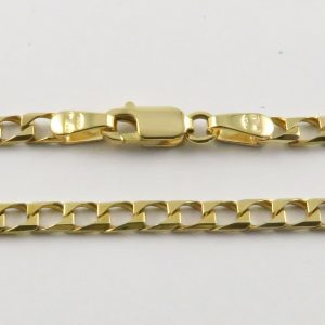 9ct Yellow Gold Curb Chains (Square) 100 Gauge - 2.6mm Wide
