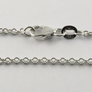 9ct White Gold Rolo Chains 050 Gauge - 2mm Wide