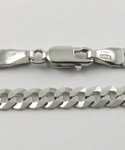 9ct White Gold Curb Chains 100 Gauge - 4.2mm Wide