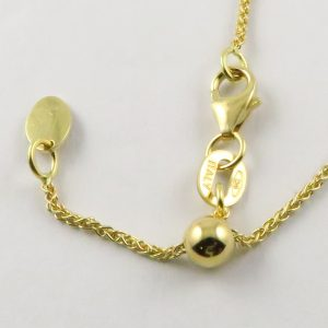 18ct Yellow Gold Wheat Chains 025 Gauge - 1.1mm Wide (Slider/Adjuster)
