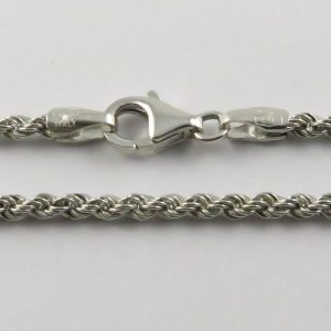 9ct White Gold Rope Chains 026 Gauge 2.12mm Wide