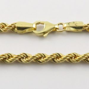 9ct Yellow Gold Rope Chains 060 Gauge 3.32mm Wide