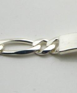Silver Figaro ID Bracelet - 150 Gauge - 5.6mm Wide