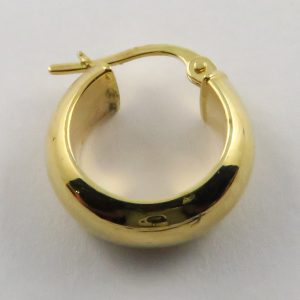 9ct Yellow Gold 14mm D-shaped Hoop Earring