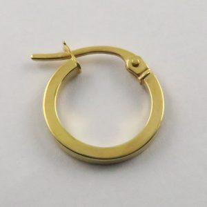 9ct Yellow Gold 13mm Sqaure Tube Hoop Earring