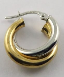 9ct Bi-colour 15mm Double Hoop Earrings