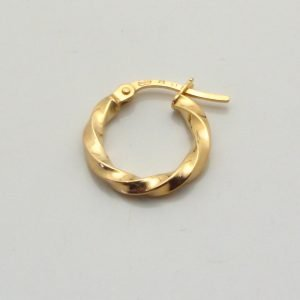9ct Yellow Gold 15mm Twisted Hoop Earrings