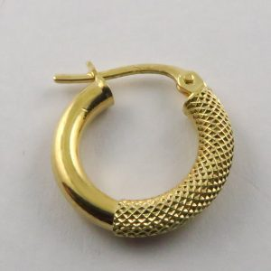 9ct Yellow 15mm Half Stippled Hoop Earrings