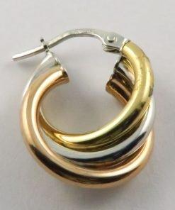 9ct Tri-colour 14mm Triple Hoop Earrings