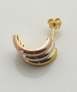 9ct Tri-Colour Gold 10mm Stud Earring