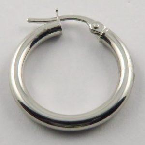 9ct White Gold 20mm Hoop Earrings