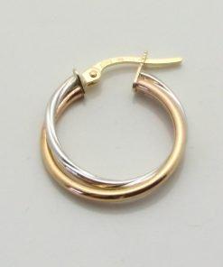 9ct Bi-colour Gold 18mm Double Tube Hoop Earrings