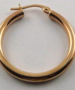 9ct Rose Gold 25mm Hoop Earrings