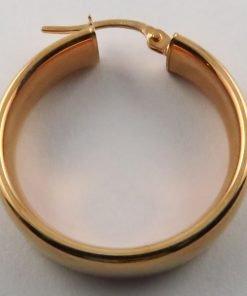 9ct Rose Gold 24mm Oval Hoop Earrings