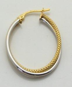 9ct Bi-colour Gold 21mm Plain & Stippled Hoop Earrings