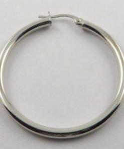 9ct White Gold 35mm Hoop Earrings