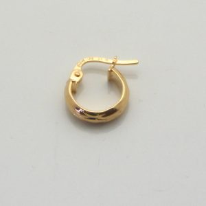 9ct Yellow Gold 10mm Patterned hoop earring