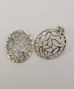 Silver Stud Earrings - Flower Filigree Oval