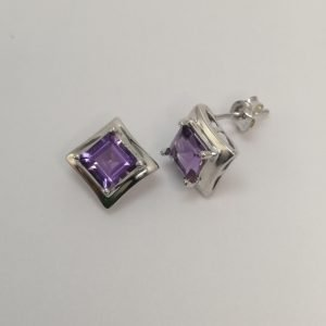 Silver Stud Earrings - 6mm Square Claw Set Amethyst with Polished Rim