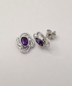 Silver Stud Earrings - Oval Amethyst with Flower Wire Detail