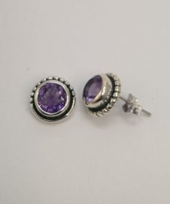 Silver Stud Earrings – 7mm Round Tube Set Amethyst with Detail