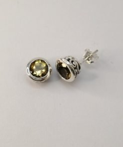 Silver Stud Earrings - 7mm Tube Set Citrine with Detail