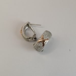 Silver Stud Earrings - Rose Gold Plated Cubic Zirconia Encrusted with Hinged Clip