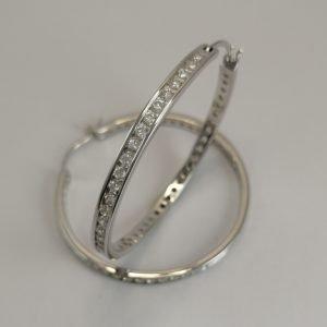 Silver Hoop Earrings - 40mm (Cubic Zirconias)