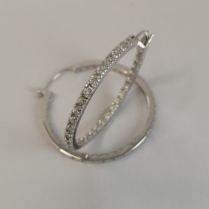 Silver Hoop Earrings - 36mm (Cubic Zirconia)
