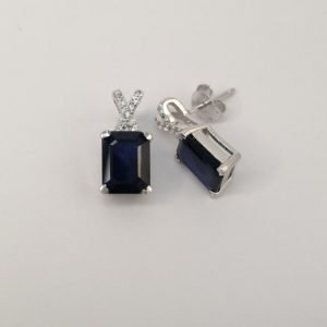 Silver Stud Earrings - Emerald Cut Sapphire with Cubic Zirconia Detail