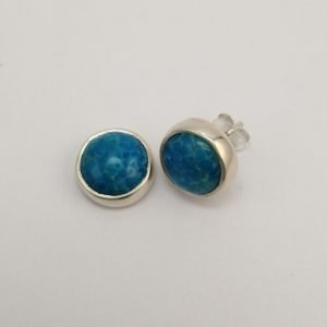 Silver Stud Earrings - 9mm Tube Set Turquoise