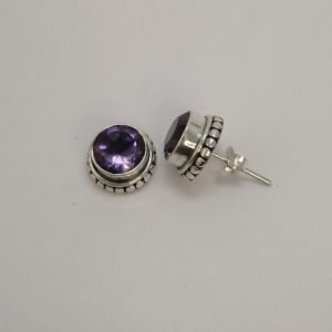 Silver Stud Earrings - 8mm Round Tube Set Amethyst with Detail