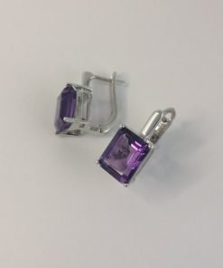 Silver Stud Earrings - Emerald Cut Amethyst with Hinged Clip