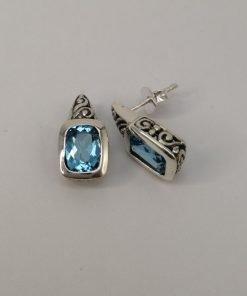 Silver Stud Earrings – Rectangular Tube Set Blue Topaz with Filigree Detail