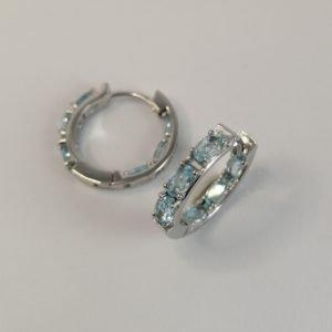 Silver Hoop Earrings – 21mm Hinged Topaz