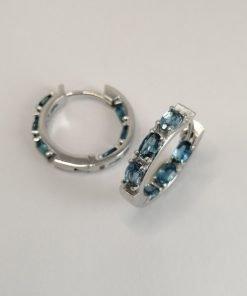 Silver Hoop Earrings – 21mm Hinged London Blue Topaz