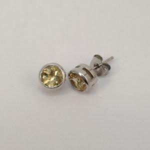 Silver Stud Earrings - 6mm Tube Set Citrine